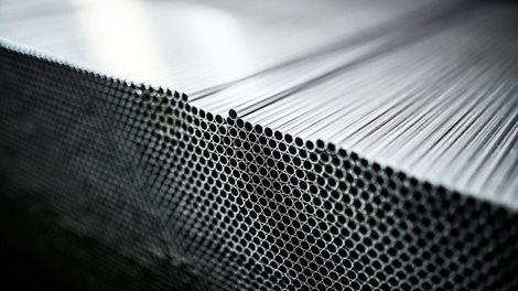 Stacks of extruded aluminum tubing
