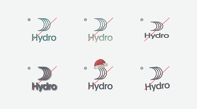 logos with wrong color, gradient, stretched, shadow, ornamented, rotated