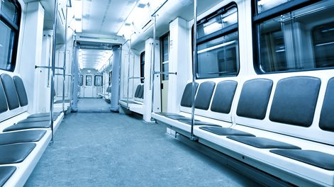 interior of a linked mass transit train carriages